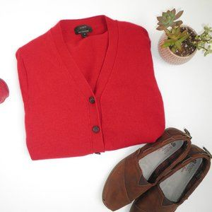Deep Red CASHMERE V Neck Button Up Cardigan